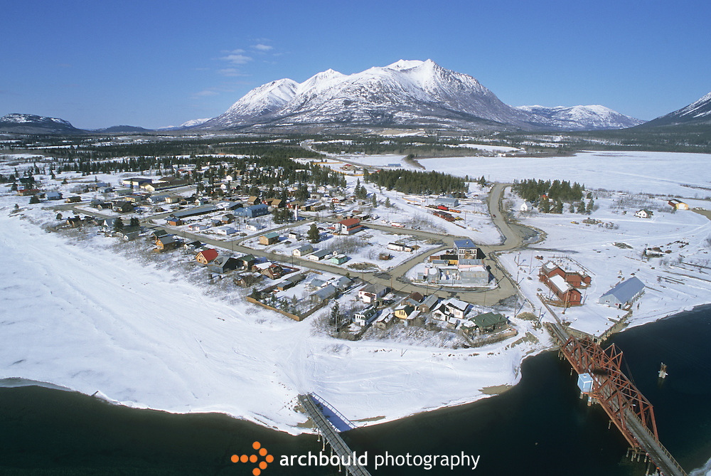 Aerial photo of Carcross, Yukon