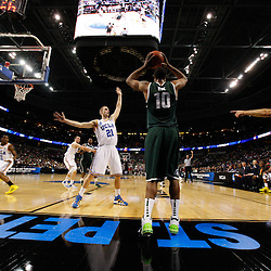 Mar 17, 2011; Tampa, FL, USA; Michigan State Spartans forward Delvon Roe (10) looks to inbound a pass past UCLA Bruins forward Brendan Lane (21) during the first half of the second round of the 2011 NCAA men's basketball tournament at the St. Pete Times Forum. UCLA defeated Michigan State 78-76.  Mandatory Credit: Derick E. Hingle