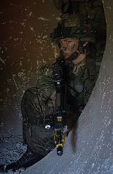 Image shows Officer Cadets from Royal Military Academy Sandhurst (RMAS) participating in Exercise Dynamic Victory on Hohenfels Training Area in Germany.<br /> <br /> 20/07/2016<br /> Credit should read: Cpl Mark Larner RY<br /> <br /> Exercise Dynamic Victory is the last of three accumulative confirmation exercises of the 44 week commissioning course bofore officer cadets are given their commission and proceed to Phase 2 trade training. It tests the cadets suitability to become junior officers in the field army. The skills and drills the Officer Cadets have learned over the previous terms are brought together, forcing the cadets to work in an arduous overseas environment whilst thinking about more than just basic soldiering.