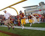 September 3, 2009: Iowa State head coach Paul Rhoads leads the team onto the field before the first half of the Iowa State Cyclones' 34-17 win over the North Dakota State Bison at Jack Trice Stadium in Ames, Iowa on September 3, 2009.