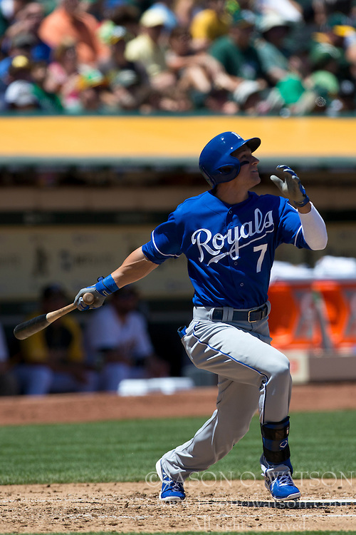 OAKLAND, CA - MAY 19: David Lough #7 of the Kansas City Royals at bat against the Oakland Athletics during the third inning at O.co Coliseum on May 19, 2013 in Oakland, California. The Oakland Athletics defeated the Kansas City Royals 4-3. (Photo by Jason O. Watson/Getty Images) *** Local Caption *** David Lough