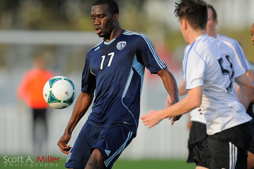 Sporting KC forward C.J. Sapong (17) during the Disney Pro Soccer Classic on Feb 9, 2013  in Lake Beuna Vista, Florida. ..©2013 Scott A. Miller