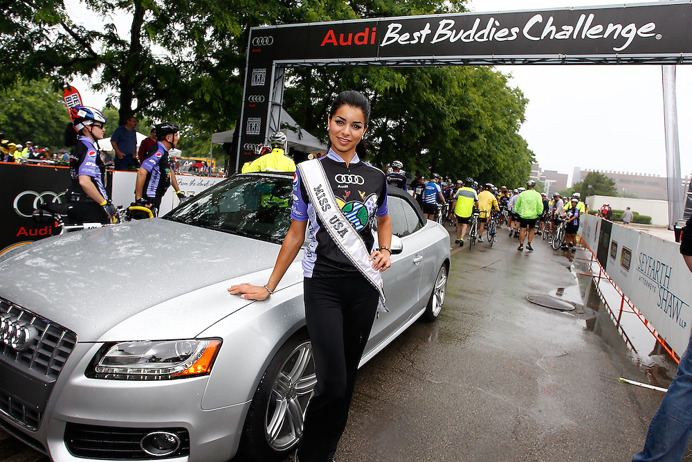 HYANNIS, MA - JUNE 05:  Miss USA 2010 Rima Fakih poses for a photo at the start line for the 100-Mile 2010 Audi Best Buddies Challenge: Hyannis Port on June 5, 2010 in Hyannis, Massachusetts.  (Photo by Joe Kohen/Getty Images for Audi of America)