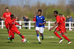 LIVERPOOL, ENGLAND - Saturday, April 9, 2016: Everton's captain Beni Baningime in action against Liverpool during the FA Premier League Academy match at Finch Farm. (Pic by David Rawcliffe/Propaganda)