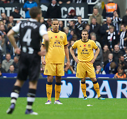 NEWCASTLE-UPON-TYNE, ENGLAND - Saturday, November 5, 2011: Everton's Phil Jagielka looks dejected after Newcastle United's first goal during the Premiership match at St. James' Park. (Pic by Vegard Grott/Propaganda)