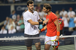 August 12, 2018 - Toronto, ON, U.S. - TORONTO, ON - AUGUST 11: Karen Khachanov (L) congratulates Rafael Nadal (R) on his win of the Semifinals match of the Rogers Cup tennis tournament on August 11, 2018, at Aviva Centre in Toronto, ON, Canada. (Photograph by Julian Avram/Icon Sportswire) (Credit Image: © Julian Avram/Icon SMI via ZUMA Press)