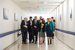 © Licensed to London News Pictures. 01/06/2017. London, UK. Leader of the Liberal Democrats TIM FARRON (third from left) visits Kingston Hospital with former leader Nick Clegg (second left) and Sarah Olney MP (centre). Photo credit: Rob Pinney/LNP