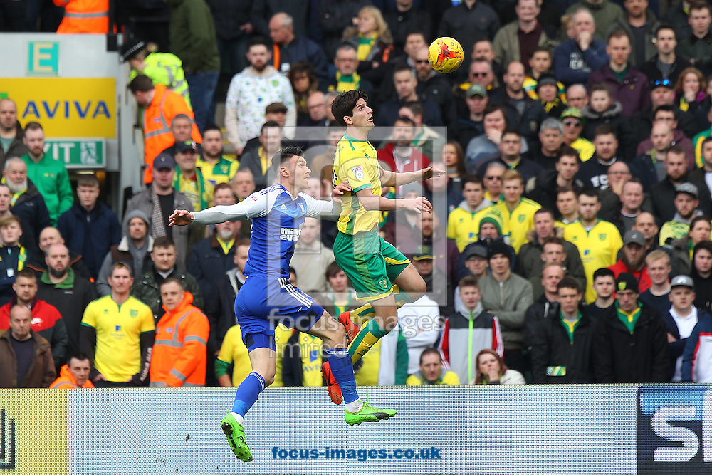 Timm Klose of Norwich wins a header during the Sky Bet Championship match at Carrow Road, Norwich<br /> Picture by Paul Chesterton/Focus Images Ltd +44 7904 640267<br /> 26/02/2017