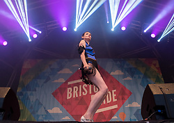 © Licensed to London News Pictures. 13/07/2019; Bristol, UK. SOPHIE ELLIS-BEXTOR headlines at Bristol Pride's 10th anniversary festival in 2019; earlier there was their biggest ever march with thousands of people march in the Pride Parade through Bristol with the rainbow flag in celebration for all sections of the LGBT community. The festival continued on Bristol Downs with an estimated 35,000 people attending. Photo credit: Simon Chapman/LNP.