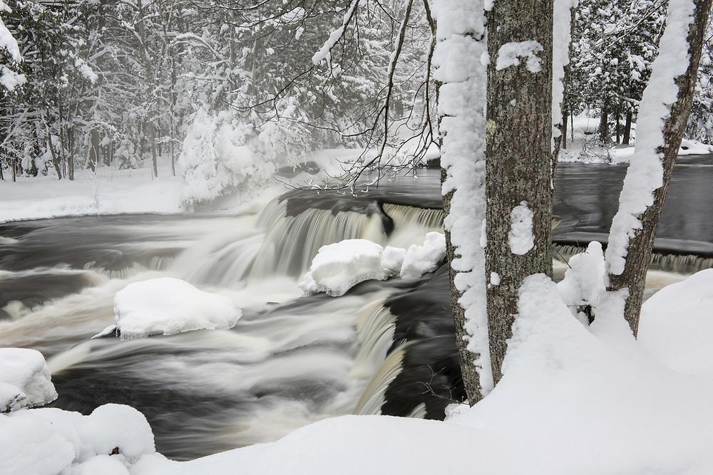 Upper Bond Falls after a new snowfall.