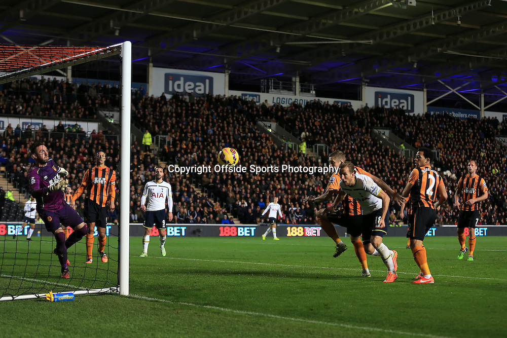 23rd November 2014 - Barclays Premier League - Hull City v Tottenham Hotspur - Harry Kane of Spurs puts his header wide - Photo: Simon Stacpoole / Offside.