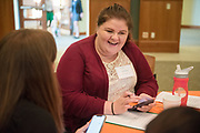 Kristen Bishop talks with her mentor during the Women's Mentoring Meet and Greet event on Sept. 4, 2018 in Walter Rotunda. Photo by Hannah Ruhoff