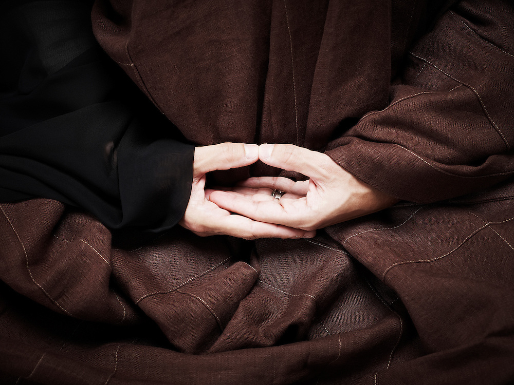 CHAMPIGNY SUR MARNE, FRANCE. MAY 15, 2012. Federico Procopio, a buddhist monk, showing how he meditates. Photo: Antoine Doyen