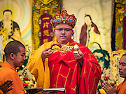 "31 JANUARY 2016 - BANGKOK, THAILAND: Mahayana Buddhist monks participate in a prayer service before Chinese New Year at Wat Mangon Kamlawat, the largest Mahayana (Chinese) Buddhist temple in Bangkok. Thailand has the largest overseas Chinese population in the world; about 14 percent of Thais are of Chinese ancestry and some Chinese holidays, especially Chinese New Year, are widely celebrated in Thailand. Chinese New Year, also called Lunar New Year or Tet (in Vietnamese communities) starts Monday February 8. The coming year will be the ""Year of the Monkey.""           PHOTO BY JACK KURTZ"
