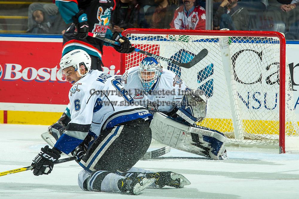KELOWNA, CANADA - OCTOBER 4: Griffen Outhouse #30 of the Victoria Royals defends the net against the Kelowna Rockets on October 4, 2017 at Prospera Place in Kelowna, British Columbia, Canada.  (Photo by Marissa Baecker/Shoot the Breeze)  *** Local Caption ***