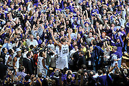 Jan 30, 2008; Manhattan, KS, USA; Kansas State Wildcats forward Michael Beasley (30) celebrates with Wildcat fans after upsetting the 2nd ranked  Kansas Jayhawks 84-75 at Bramlage Coliseum in Manhattan, KS. Mandatory Credit: Peter G. Aiken-US PRESSWIRE