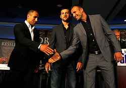 July 13, 2009; New York, NY, USA; Arthur Abraham speaks at the press conference announcing the Super Six World Boxing Classic Tournament at Madison Square Garden in New York City.  Abraham will open the tournament against American Jermain Taylor.