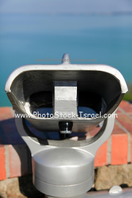 coin operated Viewing telescope aimed at a blue sky