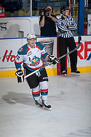 KELOWNA, CANADA - FEBRUARY 9: Chance Braid #22 of Kelowna Rockets warms up against the Prince George Cougars on February 9, 2015 at Prospera Place in Kelowna, British Columbia, Canada.  (Photo by Marissa Baecker/Shoot the Breeze)  *** Local Caption *** Chance Braid;