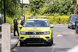 © Licensed to London News Pictures. 30/08/2019. London, UK. An ambulance on Willan Road in Tottenham, north London where a teenage boy was stabbed this morning. The victim has been taken to a hospital and according to the police he is in a critical condition. Photo credit: Dinendra Haria/LNP