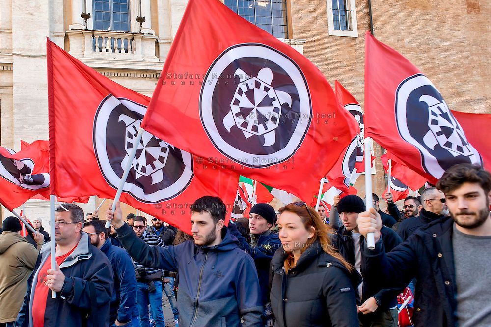 Roma 10 Dicembre 2014<br /> Presidio  in Campidoglio, organizzato da Casapound Italia, dopo Investigation &quot;Mafia capitale&quot; della Procura di Roma, per chiedere le dimissioni del sindaco Ignazio Marino e elezioni subito<br /> Rome December 10, 2014<br /> The garrison  at Capitol, organized by Casapound Italy , after  Investigation   &quot;Mafia capital&quot; of the prosecutor of Rome , to ask  the resignation of Mayor Ignazio Marino and elections immediately.