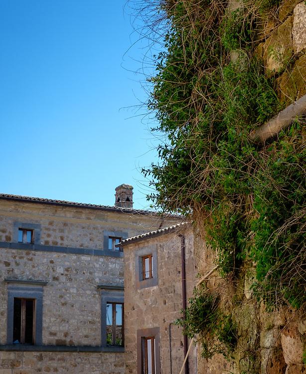 CIVITA DI BAGNOREGIO ITALY - CIRCA MAY 2015: Old walls and windows in Civita di Bagnoregio.
