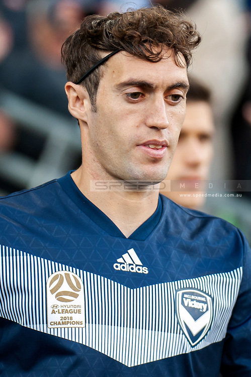 Melbourne Victory midfielder Raul Baena (15) walks out at the Hyundai A-League Round 2 soccer match between Melbourne Victory and Perth Glory at AAMI Park in Melbourne.