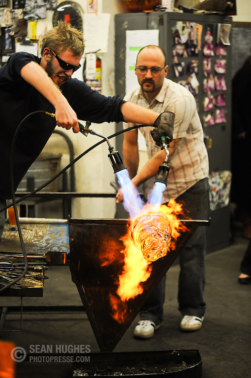 Ted Jeckering turns up the heat while Chad Cully works the pole. The Third Annual BockFest Blow at the River City Works, 532 East 12th Street, in Over-the-Rhine's Pendleton Art District took place on February 20th.
