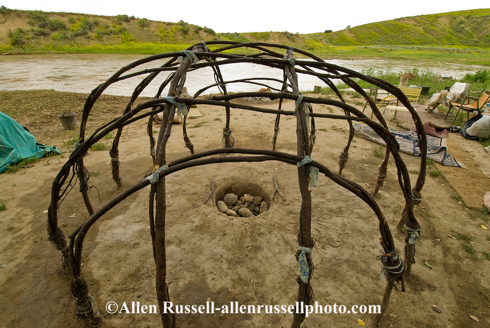 Sweat Lodge frame, Little Bighorn River, Crow Indian Reservation, Medicine Tail Coulee where Battle of the Little Bighorn occurred, Montana