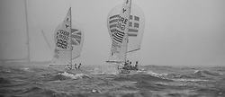 Qingdao China 17.8.2008 Rainy Medal Race, Yngling, Finn
