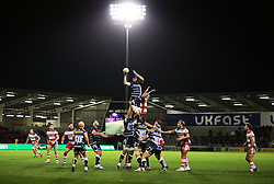 A general view as Bryn Evans of Sale Sharks catches from a line out - Mandatory by-line: Matt McNulty/JMP - 16/09/2016 - RUGBY - Heywood Road Stadium - Sale, England - Sale Sharks v Gloucester Rugby - Aviva Premiership