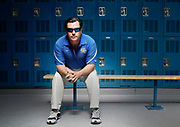 Junipero Serra High School football head coach Patrick Walsh pictured inside the school's locker rooms, Wednesday, March 25, 2015, in San Mateo, Calif.