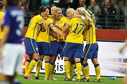 13.07.2011, Commerzbank Arena, Frankfurt, GER, FIFA Women Worldcup 2011, Halbfinale,  Japan (JPN) vs. Schweden (SWE), im Bild.Torjubel / Jubel  nach dem 0:1 durch Annica Svensson (Schweden) (M) .. // during the FIFA Women´s Worldcup 2011, Semifinal, Japan vs Sweden on 2011/07/13, Commerzbank Arena, Frankfurt, Germany.   EXPA Pictures © 2011, PhotoCredit: EXPA/ nph/  Mueller       ****** out of GER / CRO  / BEL ******