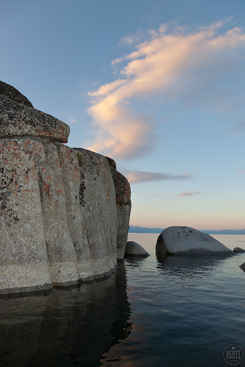 """""""Tahoe Boulders at Sunrise 14"""" - These boulders were photographed at sunrise near Speedboat Beach, Lake Tahoe. Photographed from a kayak."""