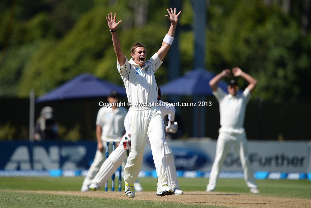 Tim Southee appeals unsuccessfully for a LBW decision on Kieran Powell slips on Day 2 of the 1st cricket test match of the ANZ Test Series. New Zealand Black Caps v West Indies at University Oval in Dunedin. Wednesday 4 December 2013. Photo: Andrew Cornaga/www.Photosport.co.nz