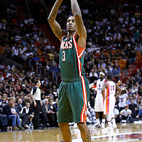 22 January 2012: Milwaukee Bucks point guard Brandon Jennings (3) is seen at the free throw line during the Milwaukee Bucks 91-82 victory over the Miami Heat at the AmericanAirlines Arena, Miami, Florida, USA.