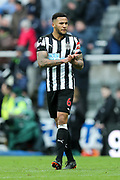Jamaal Lascelles (#6) of Newcastle United applauds the home fans following the Premier League match between Newcastle United and Huddersfield Town at St. James's Park, Newcastle, England on 31 March 2018. Picture by Craig Doyle.