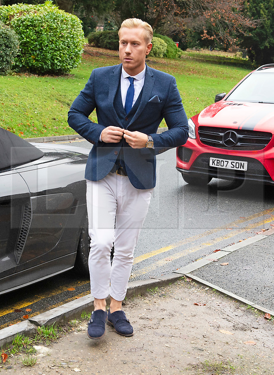 ©Licensed to London News Pictures 28/11/2019.<br /> Medway,UK. Kris Boyson arriving at court with two cars.  Trail of Katie Price's boyfriend Kris Boyson at Medway Magistrates Court, Chatham,Kent. He is accused of threatening, abusive and insulting behaviour towards a police officer after a row with a celebrity photographer.  Photo credit: Grant Falvey/LNP