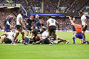 Somehow Fraser Brown gets the ball over the line for Scotland's second try during the 2018 Autumn Test match between Scotland and Fiji at Murrayfield, Edinburgh, Scotland on 10 November 2018.