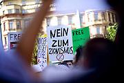 Mainz | 18 July 2014<br /> <br /> Am Samstag (18.07.2014) nahmen etwa 1000 M&auml;nner, Frauen und Kinder in der Innenstadt von Mainz anl&auml;sslich der milit&auml;rischen Auseinandersetzung zwischen Israel und der Hamas in Gaza an einer Solidarit&auml;tsdemonstration f&uuml;r Gaza, ein freies Pal&auml;stina und gegen Israel teil. Bei der Demo wurden Fahnen der Hamas und der Hisbollah mitgef&uuml;hrt, neben den &uuml;blichen Parolen gegen Israel wurde in Sprechch&ouml;hren auch vereinzelt zur Vernichtung von J&uuml;dinnen und Juden aufgerufen.<br /> Hier: Transparent &quot;Nein zum Zionismus&quot;.<br /> <br /> <br /> &copy;peter-juelich.com<br /> <br /> [No Model Release | No Property Release]