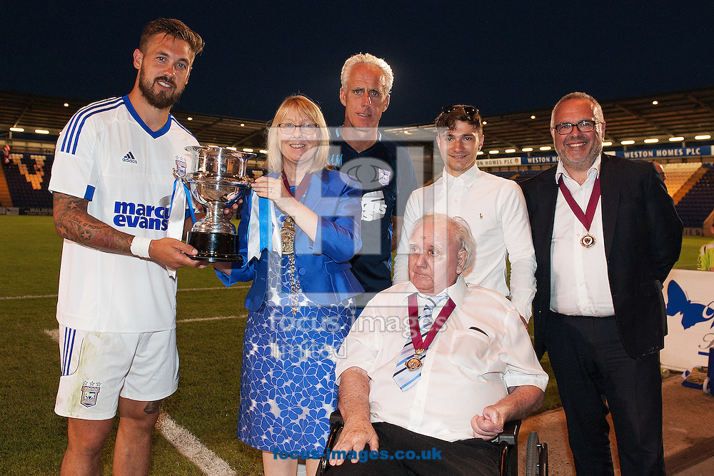 Luke Chambers of Ipswich Town is presented with the Alderton Trusler Cup during the Friendly match between Colchester United and Ipswich Town at the Weston Homes Community Stadium, Colchester<br /> Picture by Richard Blaxall/Focus Images Ltd +44 7853 364624<br /> 20/07/2016