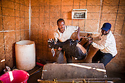 30 OCTOBER 2010 - PHOENIX, AZ: IBRAHIM SWARA-DAHAB and a customer place a goat in the killing tray at the Goat Meat Store, owned by Ibrahim Swara-Dahab, in Phoenix, AZ. Swara-Dahab came to the United States from Somalia in 1998. He has built a thriving business as a Halal butcher and provides freshly butchered goats and sheep killed following the precepts of Muslim tradition. His business not only caters to Muslims in the Phoenix area but also to refugees and immigrants from Africa and Asia. His small butcher shop is on the Gila River Indian Reservation, about 100 yards from the Phoenix city limits and doesn't have either running water or electricity.    Photo by Jack Kurtz