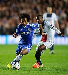 Chelsea Midfielder Willian (BRA) is challenged by PSG Midfielder Blaise Matuidi (FRA) - Photo mandatory by-line: Rogan Thomson/JMP - 07966 386802 - 08/04/2014 - SPORT - FOOTBALL - Stamford Bridge, London - Chelsea v Paris Saint-Germain - UEFA Champions League Quarter-Final Second Leg.