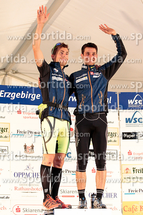 25.08.2012, Fichtelberg-Schanze, Oberwiesenthal, GER, FIS Nordische Kombination, Sommer Grand Prix, Herren, Podium, im Bild   Braud Francois & Jason Lamy Chappuis (FRA)  on podium // during mens FIS Nordic Combined summer grand prix at Fichtelberg-Schanze, Oberwiesenthal, Germany on 2012/08/25. EXPA Pictures © 2012, PhotoCredit: EXPA/ Federico Modica