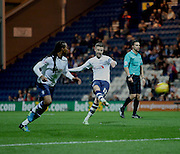 Paul Gallagher strikes during the Sky Bet Championship match between Preston North End and Bolton Wanderers at Deepdale, Preston, England on 31 October 2015. Photo by Pete Burns.