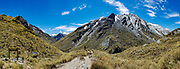 View north at Rees Saddle on Rees-Dart Track in Mount Aspiring National Park, Otago region, South Island of New Zealand.