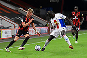 Sam Surridge (14) of AFC Bournemouth battles for possession with Mamadou Sakho (12) of Crystal Palace during the EFL Cup match between Bournemouth and Crystal Palace at the Vitality Stadium, Bournemouth, England on 15 September 2020.