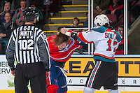 KELOWNA, CANADA - FEBRUARY 17: Jeff Faith #4 of the Spokane Chiefs drops the gloves with Rodney Southam #17 of the Kelowna Rockets on February 17, 2017 at Prospera Place in Kelowna, British Columbia, Canada.  (Photo by Marissa Baecker/Shoot the Breeze)  *** Local Caption ***