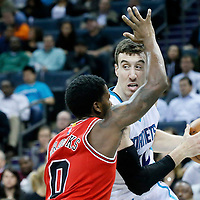03 November 2015: Charlotte Hornets center Frank Kaminsky III (44) looks to pass the ball over Chicago Bulls guard Aaron Brooks (0) during the Charlotte Hornets  130-105 victory over the Chicago Bulls, at the Time Warner Cable Arena, in Charlotte, North Carolina, USA.
