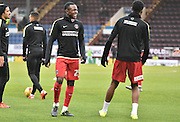 Charlton Athletic Midfielder,  Regan Charles-Cook is in good spirits whilst he warms up  during the Sky Bet Championship match between Burnley and Charlton Athletic at Turf Moor, Burnley, England on 19 December 2015. Photo by Mark Pollitt.